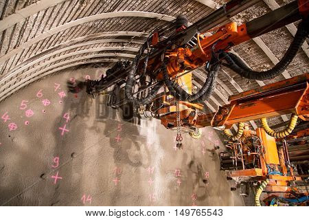 Geneva, Switzerland - May 22, 2014: Construction of piperoof grouting for tunnel construction
