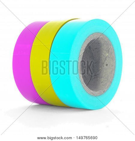 Pink yellow cyan insulation tape coils isolated on white background