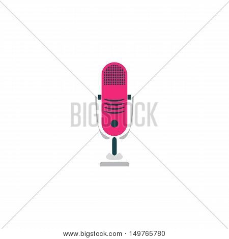 Microphone Icon Vector. Flat simple color pictogram
