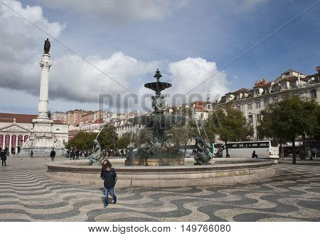 Turists Walking In The Square