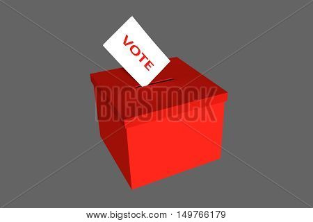 Red ballot box with a election ballot paper. 3D illustration on grey background.