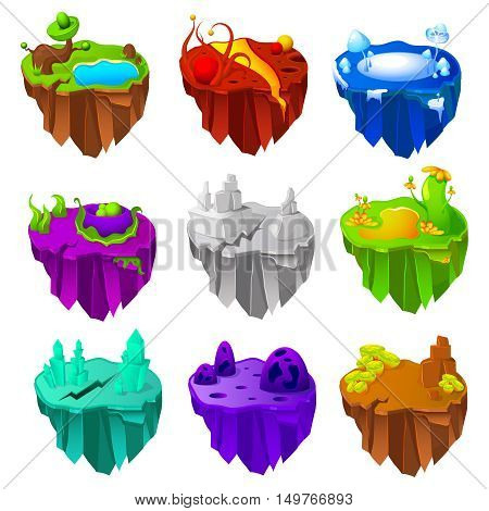 Set of colorful islands game design  with vegetation near lakes cracks craters and crystals isolated vector illustration