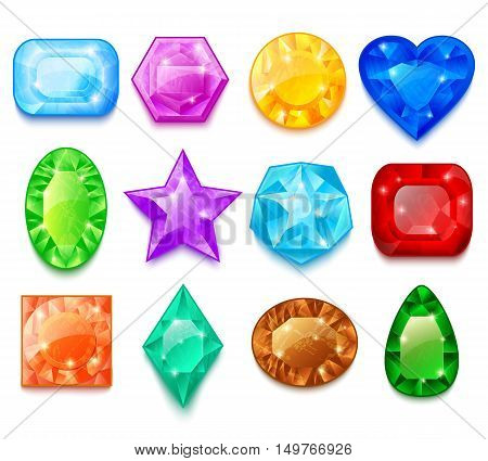 Set of colorful transparent gems of different shape with sparkles of light isolated vector illustration