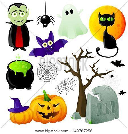 Halloween symbols set with vampire  lantern of jack cat and bat cauldron and spiderwebs isolated vector illustration