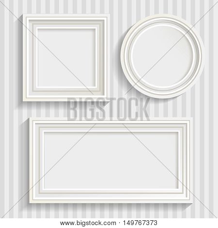 Set of three minimalistic white frames of different shapes with shadows on striped grey wall background vector illustration