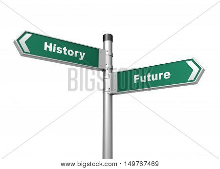 history future road sign 3d concept illustration on white background