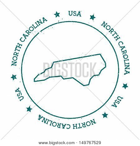 North Carolina Vector Map. Retro Vintage Insignia With Us State Map. Distressed Visa Stamp With Nort