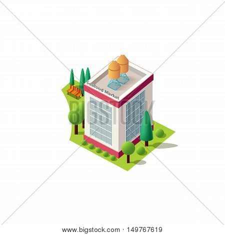 Stock vector illustration isometrics isolated Seafood market building with arranged territory for business center on a white background