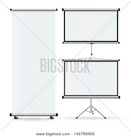 Set of three isolated realistic images of educational rolling stands with blank projection screen on pedestal wall and unrolled with shadows vector illustration