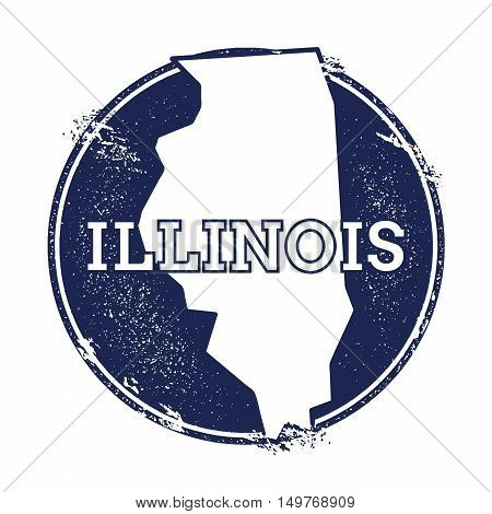 Illinois Vector Map. Grunge Rubber Stamp With The Name And Map Of Illinois, Vector Illustration. Can