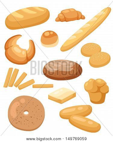 Bread Set. Bakery And Pastry Products Icons Set With Various Sorts Of Bread, Sweet Buns, Cupcakes, D