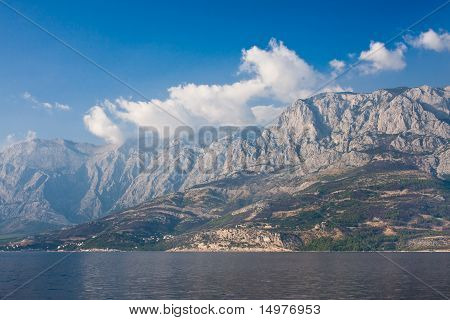 View From Sea Resort Of Makarska And Mountains Biokovo. Croatia poster