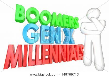 Millennials Generation X Baby Boomers Words 3d Illustration