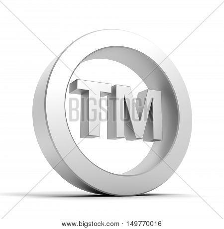 tm trade mark sign 3d illustration isolated on white background