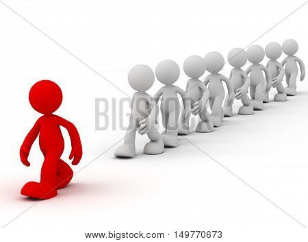 follow the leader 3d illustration isolated on white background