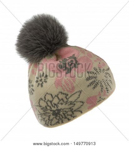 Women's Knitted Hat  With Pompom Isolated On White Background.
