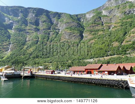 Port for fjord cruise in summer, Flam of Norway