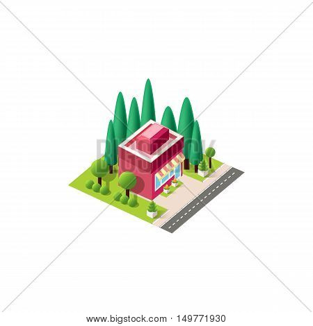 Stock vector illustration isometrics isolated small business shop building with arranged territory for business center on a white background