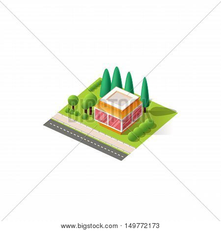 Stock vector illustration isometrics isolated kiosk building with arranged territory for business center on a white background