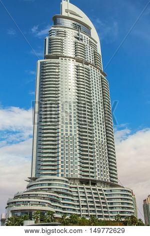 Dubai, UAE - May 1, 2013: the Address Hotel is located in Downtown Dubai and has the Burj Khalifa and the Dubai Fountain on its doorstep and is attached to the Dubai Mall