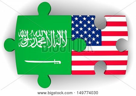 The cooperation of the Saudi Arabia and the United States of America. Puzzles with flags of the United States of America and Saudi Arabia on a white surface. The concept of coincidence of interests in geopolitics. Isolated. 3D Illustration