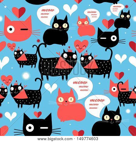 Seamless graphic pattern with lovers cats and hearts on a blue background