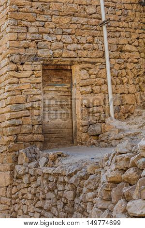 Ancient house wall in Iraqi countryside located in Kurdistan region near Sulaimanya City