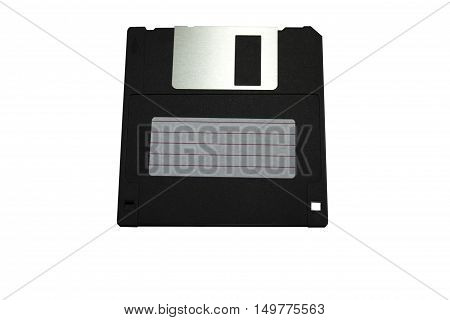3.5-inch diskette on white background. old storage