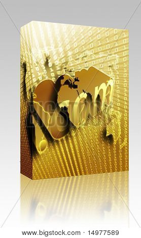 Software package box dotCom background, on world map internet illustration