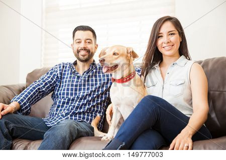 Attractive Couple With A Dog At Home