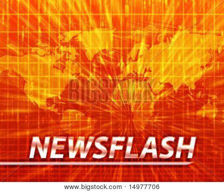 Latest breaking news newsflash splash screen announcement illustration