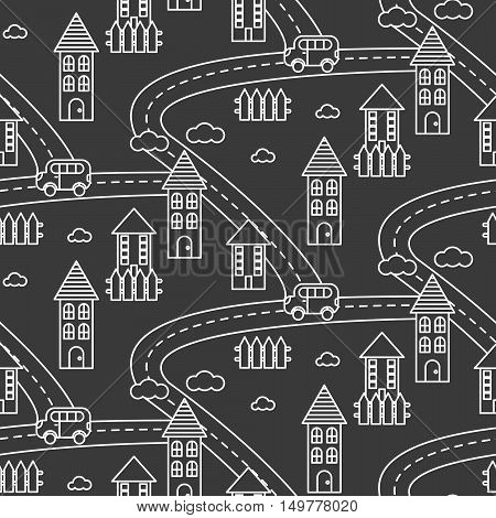 Outline village seamless vector pattern. Rural landscape with road, houses, car and fields repeat background. White line style dark grey hamlet.