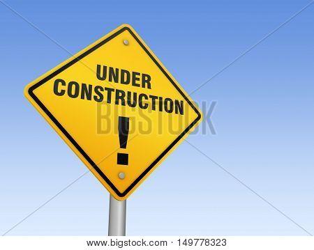 under construction road sign 3d concept illustration on sky background