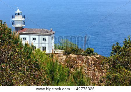 Getaria Lighthouse is located at the end Getaria Mouse (symbol of town) on Mount San Anton. Spain Basque Country.