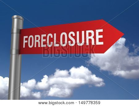 foreclosure road sign 3d concept illustration on sky background