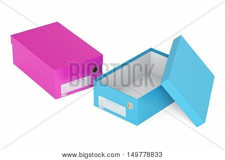 colored shoeboxes 3D rendering isolated on white background