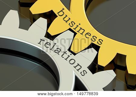 Business Relations concept on the gearwheels 3D rendering