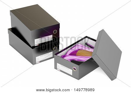 Red high heel shoes and black shoeboxes 3D rendering isolated on white background