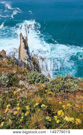 Summer Ocean Coast View In Getxo Town (spain).