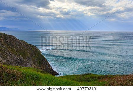 Summer Ocean Bay Coastline View Near Gorliz  Town (spain).