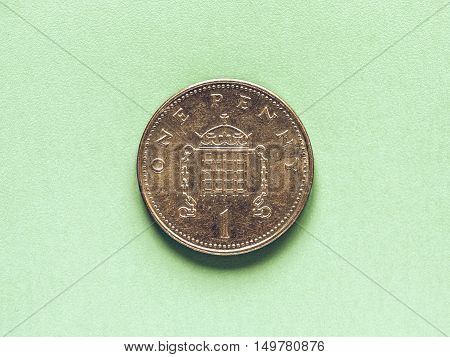 Vintage Gbp Pound Coin - 1 Penny