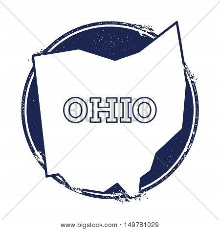 Ohio Vector Map. Grunge Rubber Stamp With The Name And Map Of Ohio, Vector Illustration. Can Be Used