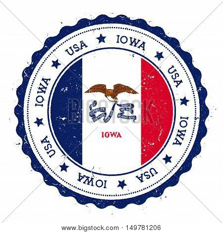Iowa Flag Badge. Grunge Rubber Stamp With Iowa Flag. Vintage Travel Stamp With Circular Text, Stars