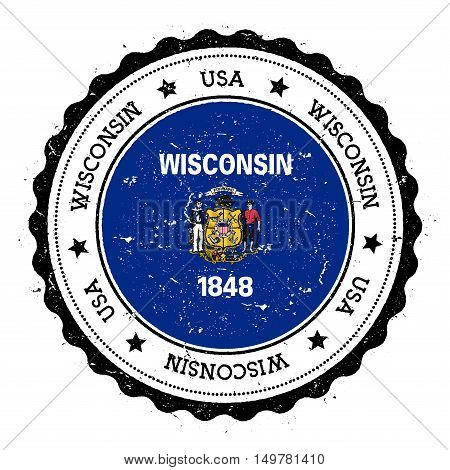 Wisconsin Flag Badge. Grunge Rubber Stamp With Wisconsin Flag. Vintage Travel Stamp With Circular Te