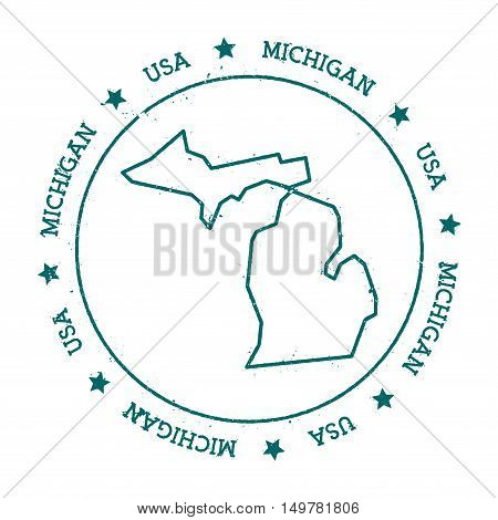 Michigan Vector Map. Retro Vintage Insignia With Us State Map. Distressed Visa Stamp With Michigan T