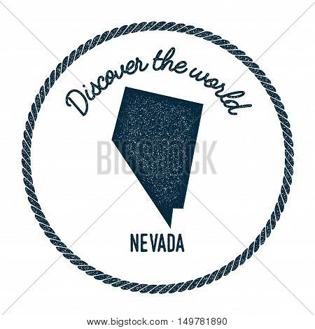 Nevada Map In Vintage Discover The World Rubber Stamp. Hipster Style Nautical Postage Stamp, With Ro