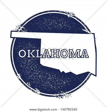 Oklahoma Vector Map. Grunge Rubber Stamp With The Name And Map Of Oklahoma, Vector Illustration. Can