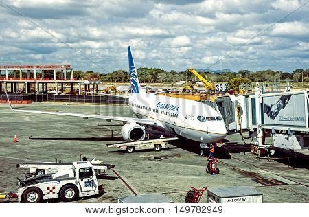Panama City, Panama -March 4, 2014: Jet is getting ready for flight in the Panama Tokumen Airport.