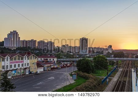 BELGOROD RUSSIA - SEPTEMBER 10 2016: Railway tracks in the direction of the border with Ukraine. Street Market