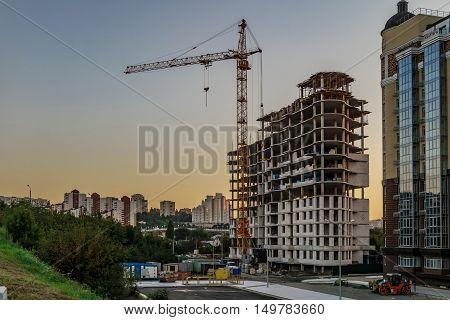 BELGOROD RUSSIA - SEPTEMBER 10 2016: Housing construction in the Belgorod city. The construction of the residential complex
